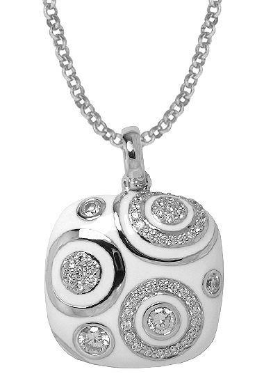 Sterling Silver Galaxy White Enamel Pendant.