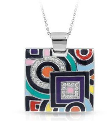 Sterling Silver Geometrica Multicolored Square Pendant.