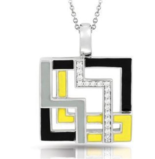 Sterling Silver Convergence Black, Grey & Yellow Pendant.
