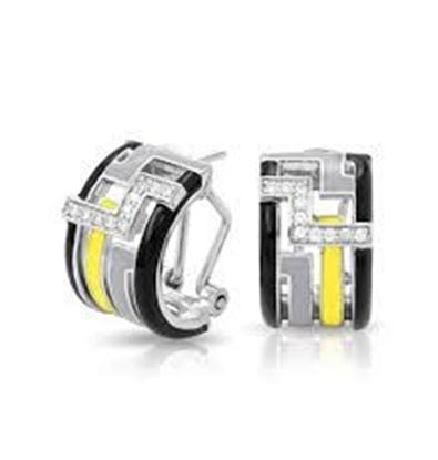 Sterling Silver Convergence Black, Grey & Yellow Enamel Hoop Earrings.