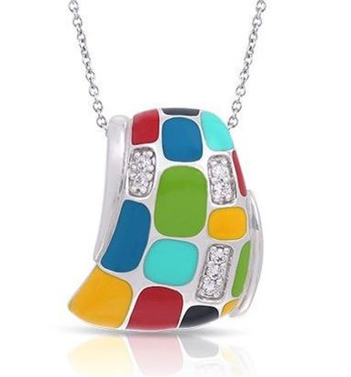 Sterling Silver Mosaica Multicolored Enamel Pendant.