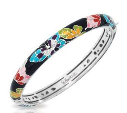 Sterling Silver Butterfly Kisses Multicolor Bangle Bracelet.