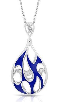 Sterling Silver Marea Blue Enamel Tear Drop Pendant.