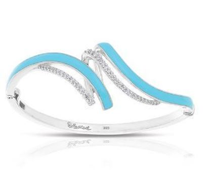 Sterling Silver Aria Larimar Blue Bangle Bracelet.