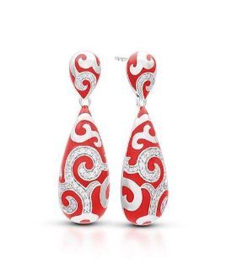 Sterling Silver Royale Drop Red Enamel Earrings.
