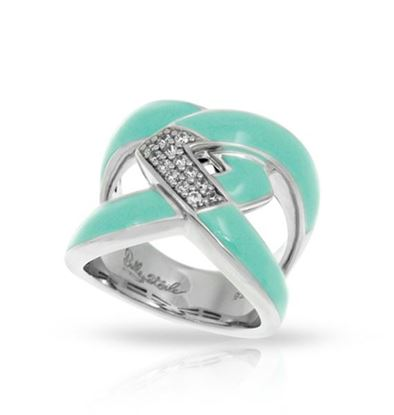 Sterling Silver Amazon Aquamarine Enamel Ring.