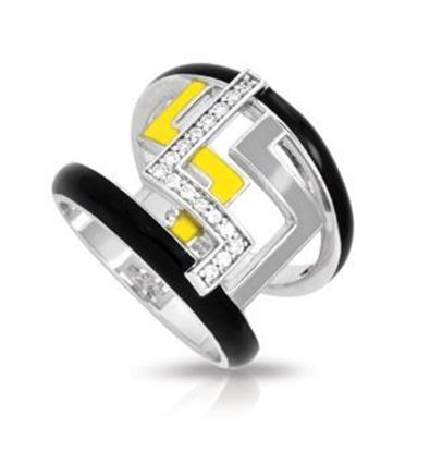 Sterling Silver Convergence Black, Grey & Yellow Enamel Ring.