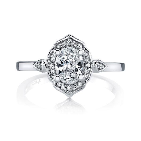 14Kt White gold Vintage Oval Halo Engagement Ring