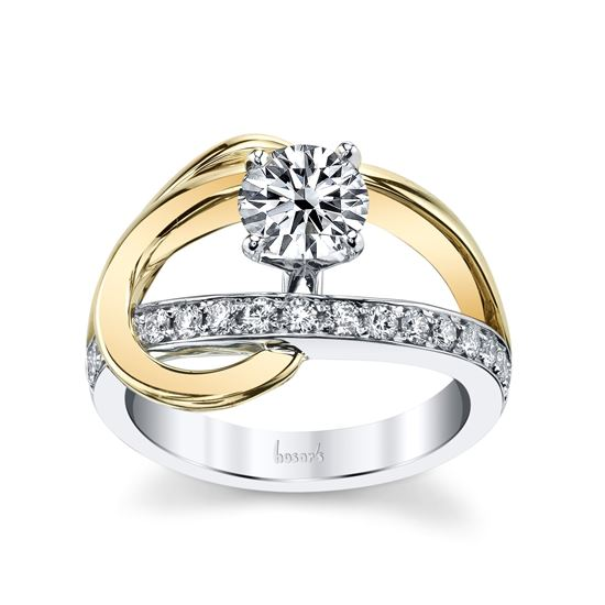 14Kt White and Yellow Gold Swirl Engagement Ring