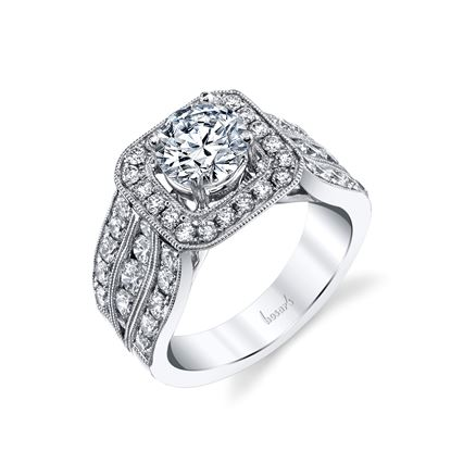 14Kt White Gold Triple Row Halo Diamond Ring