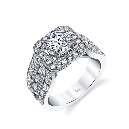 14Kt White Gold Triple Row Halo Diamond Ring