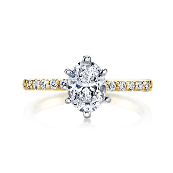 14Kt Yellow Gold Shared Prong Engagement Ring with an Oval Center Diamond