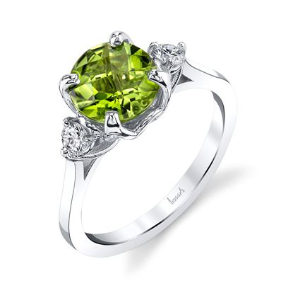 14Kt White Gold Peridot and Diamond Ring