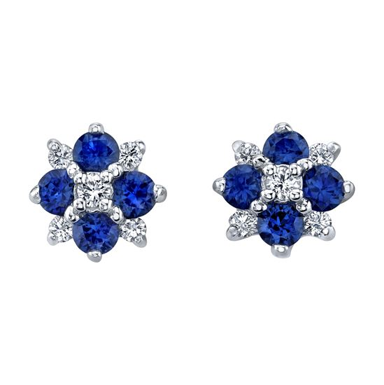 14Kt White gold Natural Blue Sapphire and Diamond Cluster Earrings
