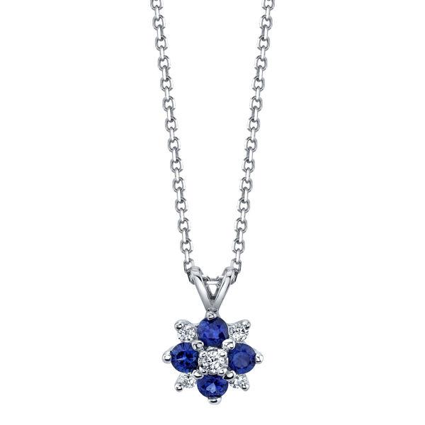14Kt White Gold Blue Sapphire and Diamond Pendant