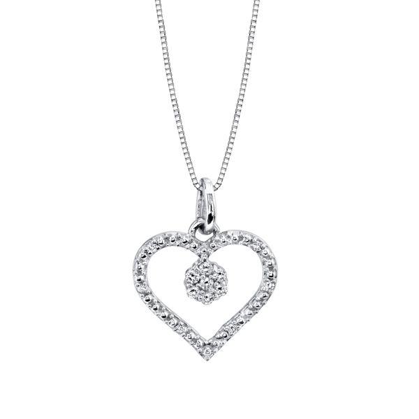 Pave set Diamond Heart with Diamond Charm