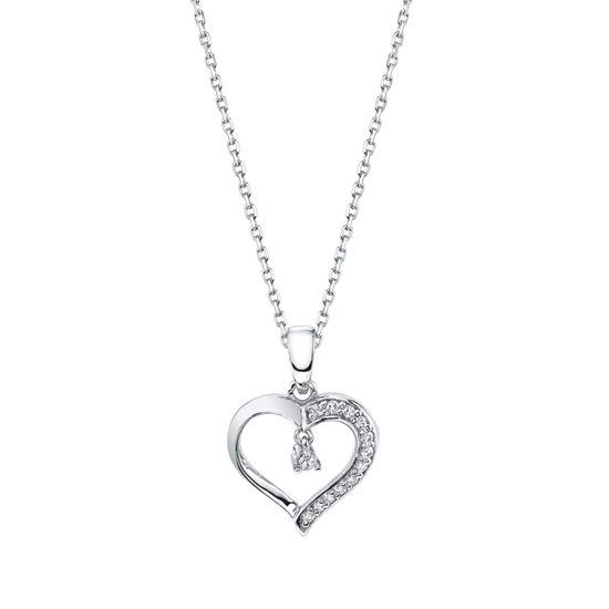 Modern White Gold Diamond Accented Heart Pendant