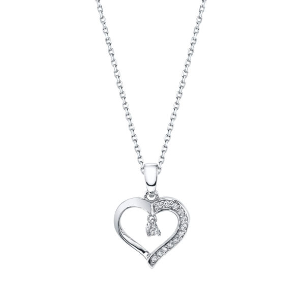 Modern White Gold Diamond Accented Heart Pendant