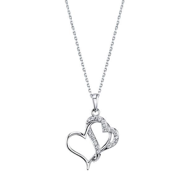 Interlocking Double Diamond Heart Pendant