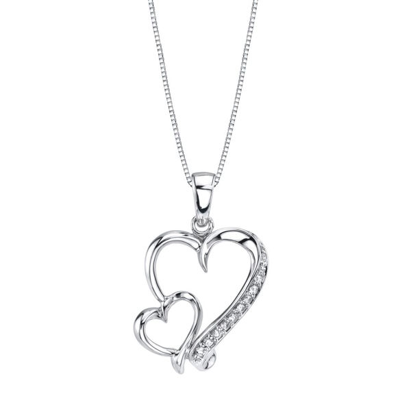 Diamond Accented Double Heart Pendant