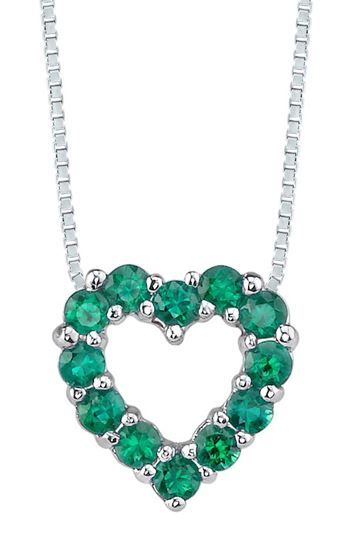 14Kt White Gold Natural Emerald Heart Pendant