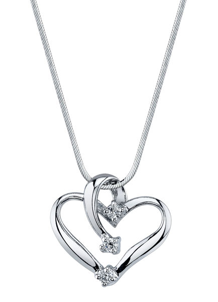 Three Stone Diamond Heart Pendant