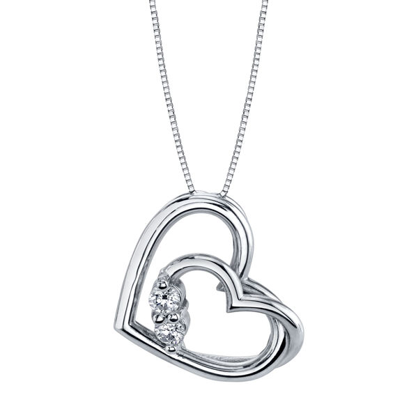 High Polish Double Heart Two Stone Pendant
