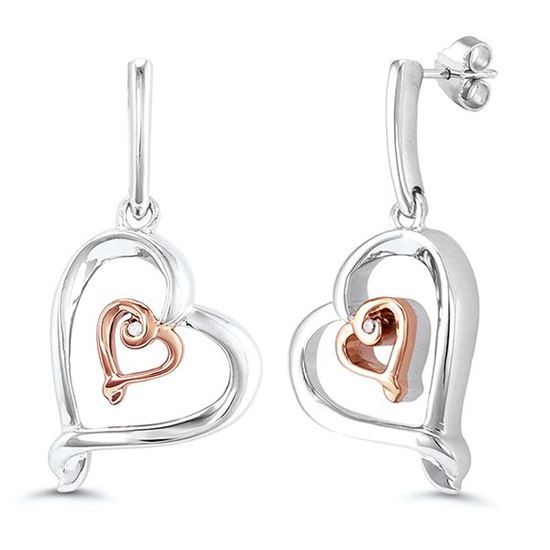 Sterling Silver and Rose Gold Plated Double Heart Dangle Earrings
