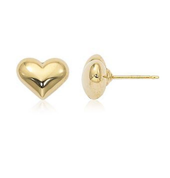 Yellow Gold Puffed Heart Studs