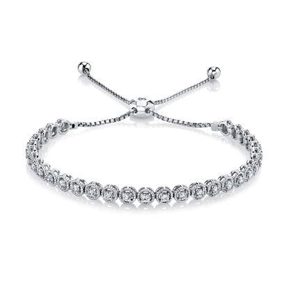 14Kt White Gold Diamond Bolo Bracelet