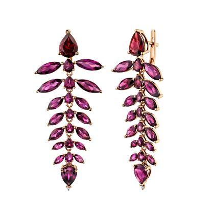 14kt Rose Gold Cascading Rhodalite Garnet Dangling Earrings