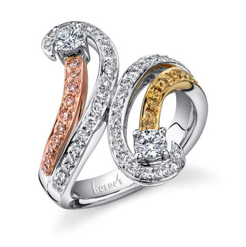 14kt Tri-Tone Swirling Two Stone Diamond Ring