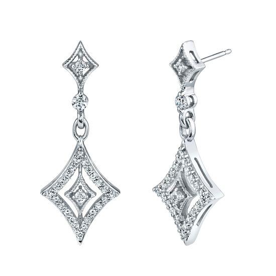 14kt White Gold Dramatic Diamond Drop Earrings