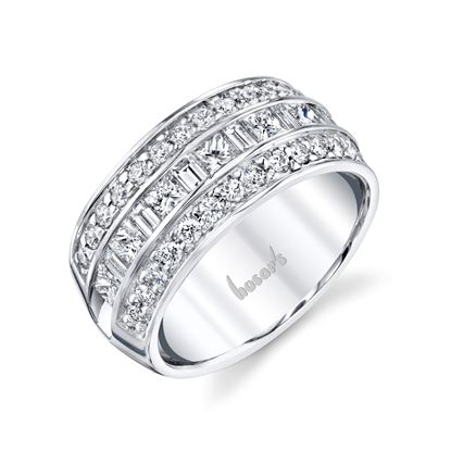14kt White Gold  Three Row Channel Set Band with Princess, Baguettes, and Round Diamonds
