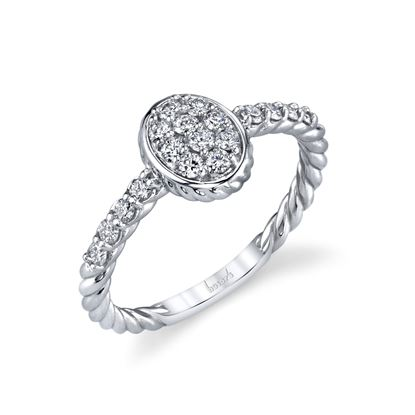 14kt White Gold Diamond Oval Cluster Ring