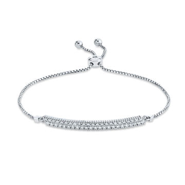 14kt White Gold Pave Set Diamond Bar Bolo Bracelet