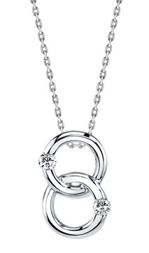 14kt White Gold Interlocking Two Stone Diamond Pendant