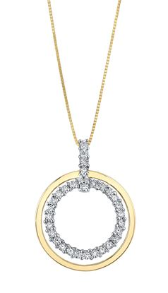 14kt Two Tone Double Circle Diamond Pendant