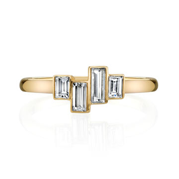 14kt Yellow Gold Staggered Diamond Baguette Ring