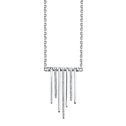 14kt White Gold Alternating Diamond and Polished Bar Necklace