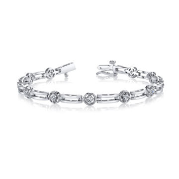 14kt White Gold Bar and Diamond Bracelet