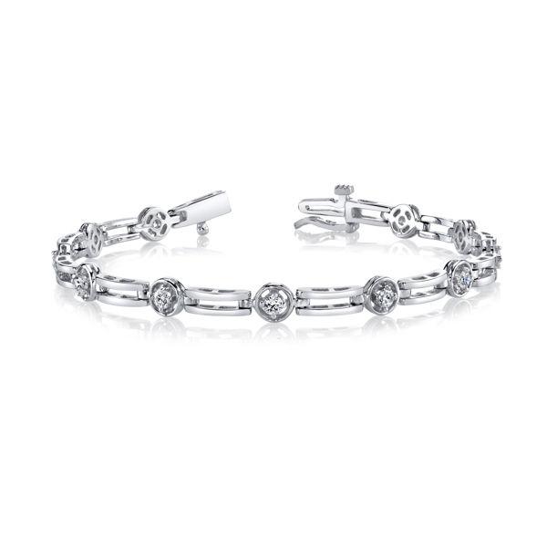 14kt White Gold Bar and Diamond Bracelet