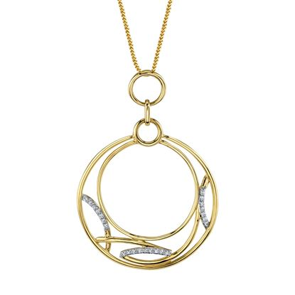 14kt Yellow Gold Artistic Diamond Circle Pendant