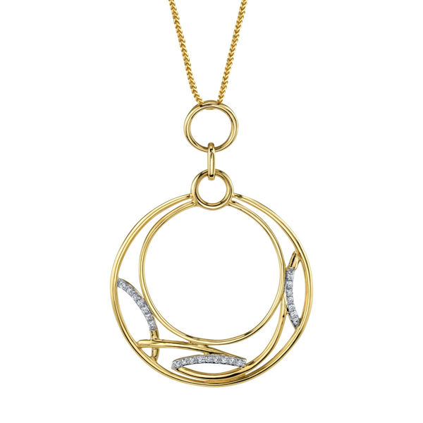 14kt Yellow Gold Artistic Diamond Circle Pendant
