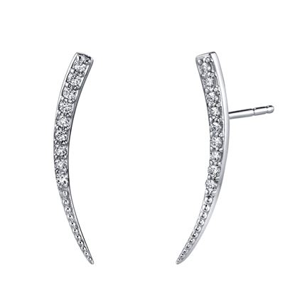14kt White Gold Diamond Ear Climbers