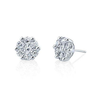 14kt White Gold Diamond Cluster Stud Earrings