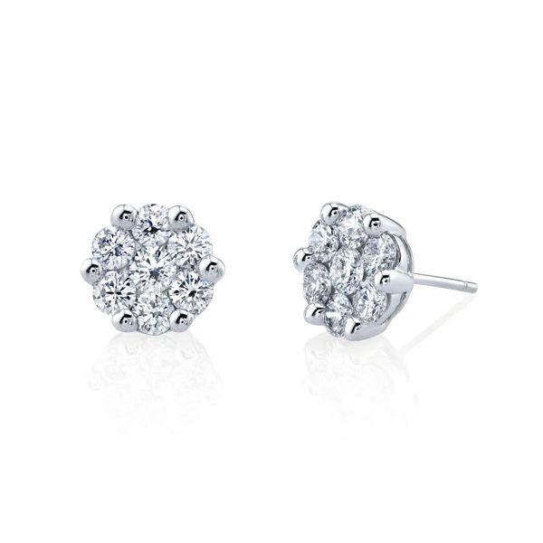 14kt White Gold Diamond Cluster Stud Earrings