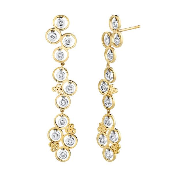 14kt Two Tone Diamond Bezel Drop Earrings