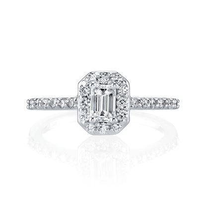 14kt White Gold Emerald Cut Diamond Halo Engagement Ring