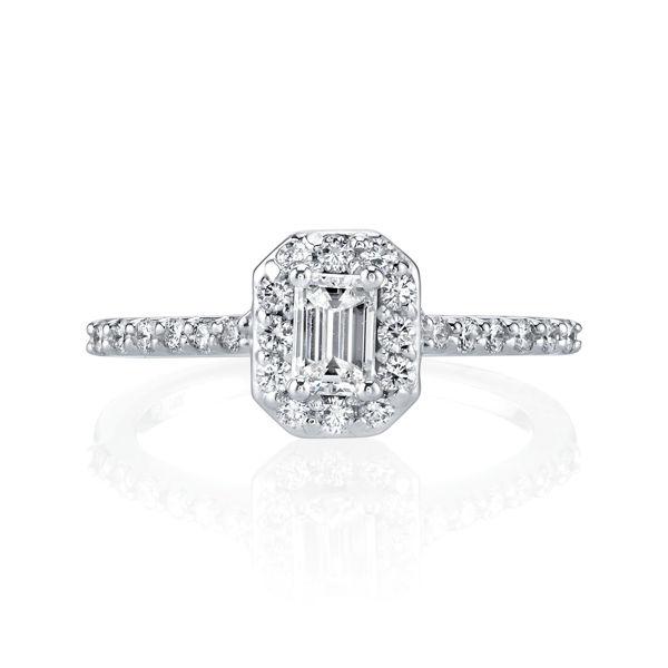 14kt White Gold Emerald Cut Diamond Halo Engagement Ring